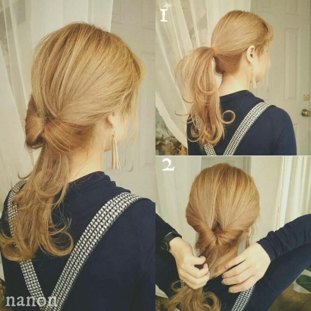 簡単ヘアアレンジ ブラウン デート 外国人風 ヘアスタイルや髪型の写真・画像   浦川由起江 / nanon