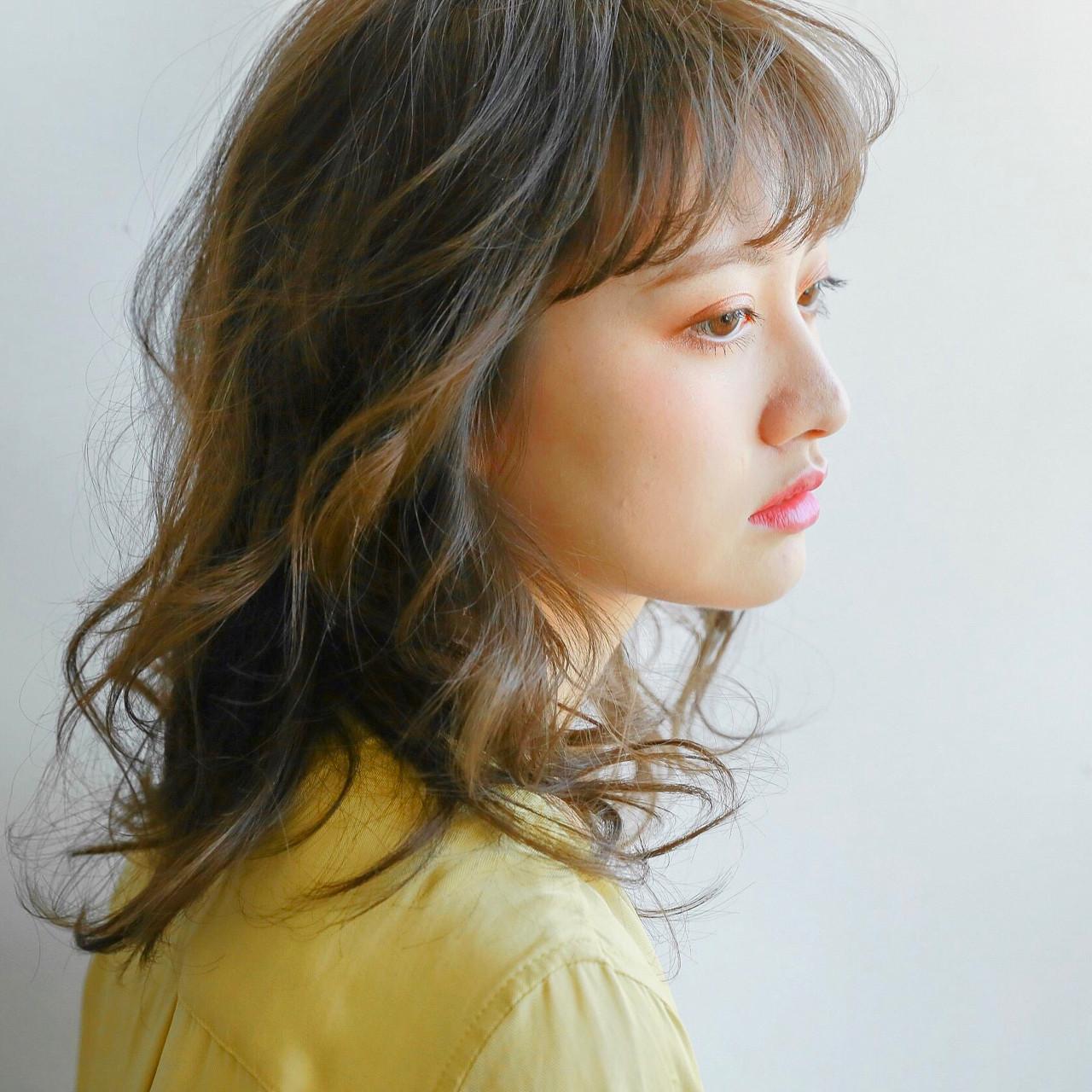 セミロング 前髪あり アッシュ パーマ ヘアスタイルや髪型の写真・画像 | 藤山将太 / ROSTAR
