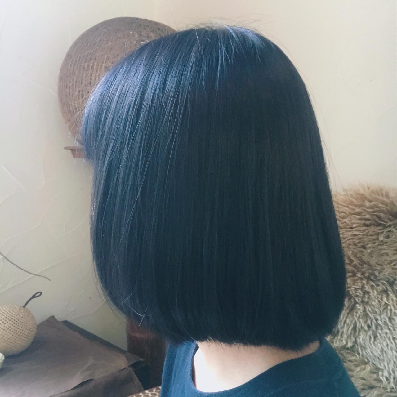 ナチュラル ブルー 暗髪 ボブ ヘアスタイルや髪型の写真・画像