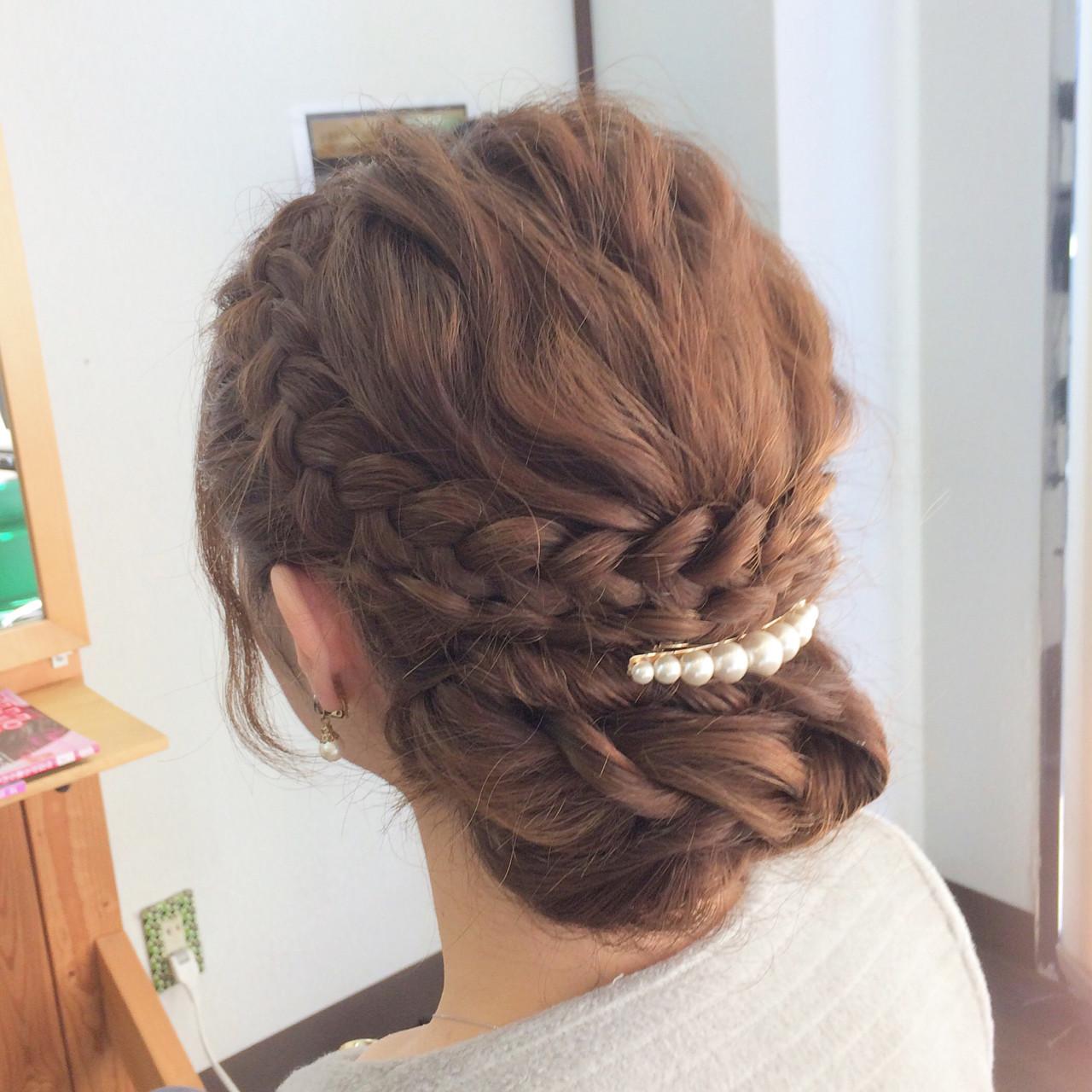 結婚式 簡単ヘアアレンジ ロング フェミニン ヘアスタイルや髪型の写真・画像