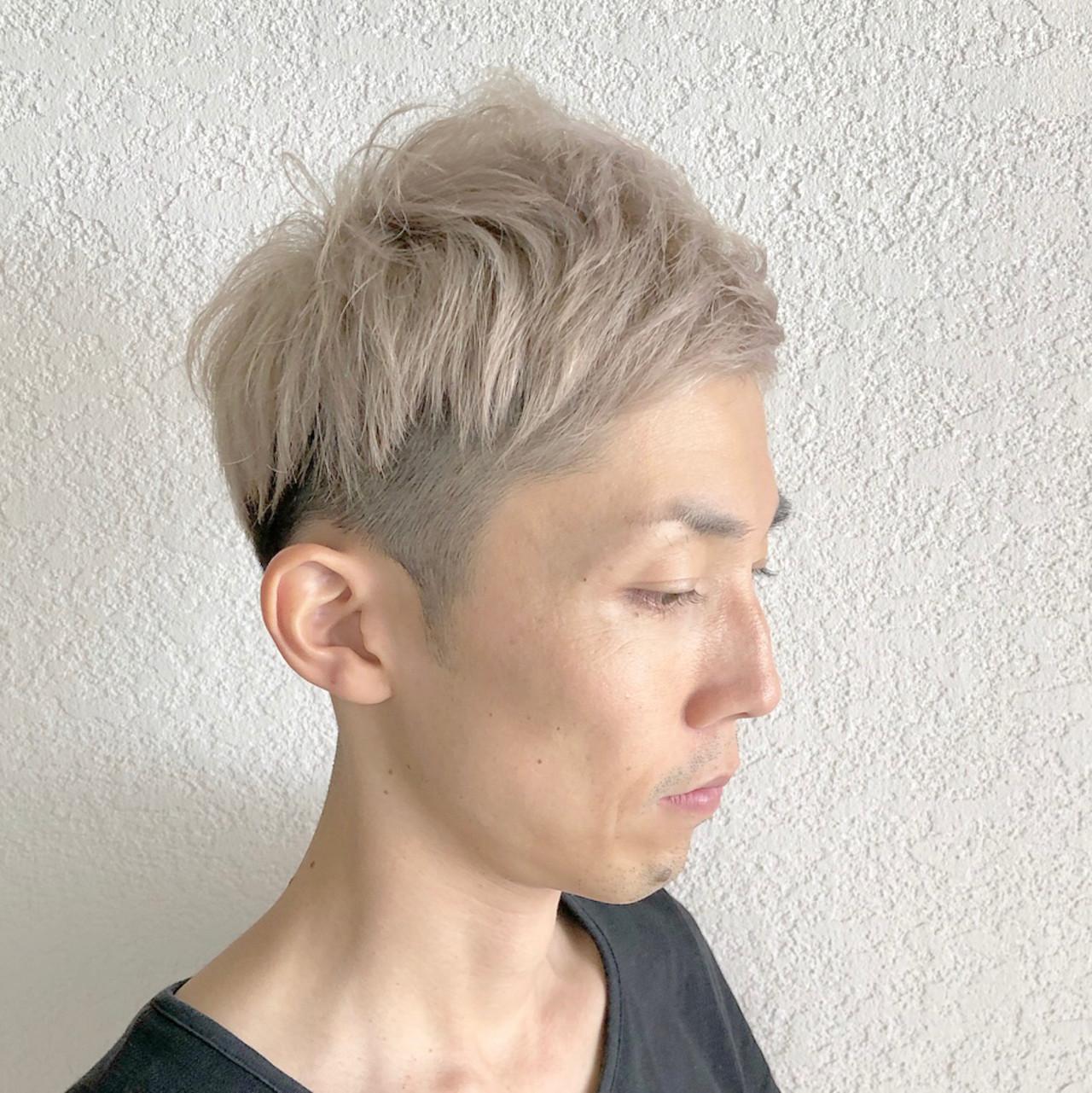 メンズショート ストリート ホワイト ショート ヘアスタイルや髪型の写真・画像