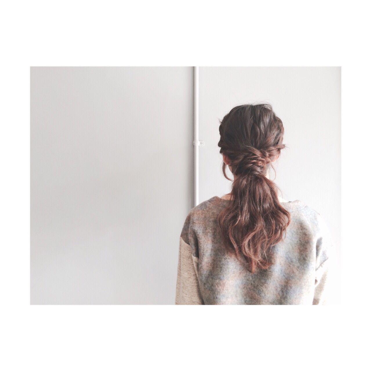 ストリート 簡単ヘアアレンジ ゆるふわ ロープ編み ヘアスタイルや髪型の写真・画像