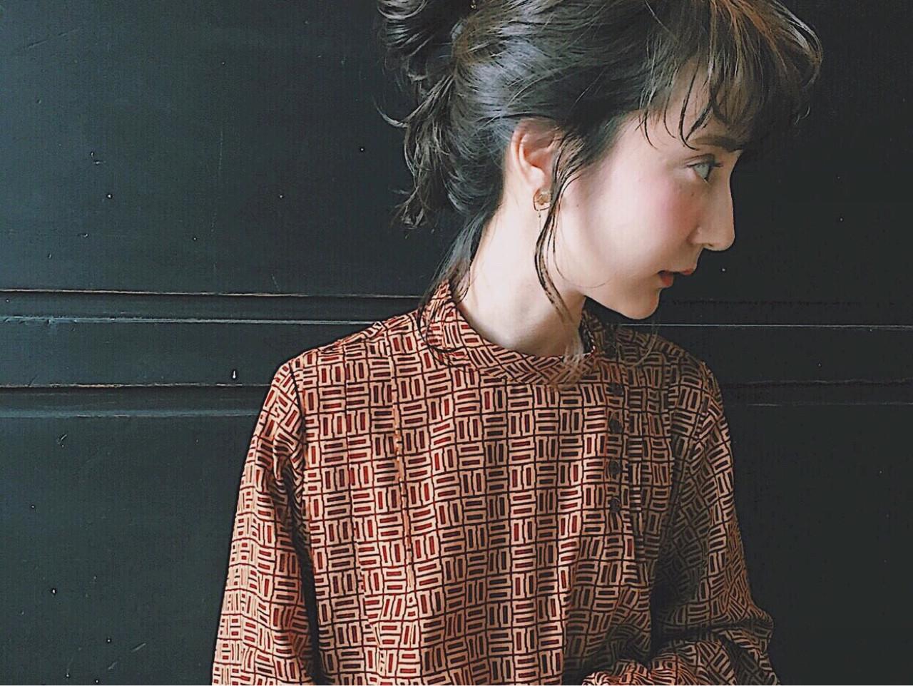 前髪あり 大人女子 ミディアム 簡単ヘアアレンジ ヘアスタイルや髪型の写真・画像
