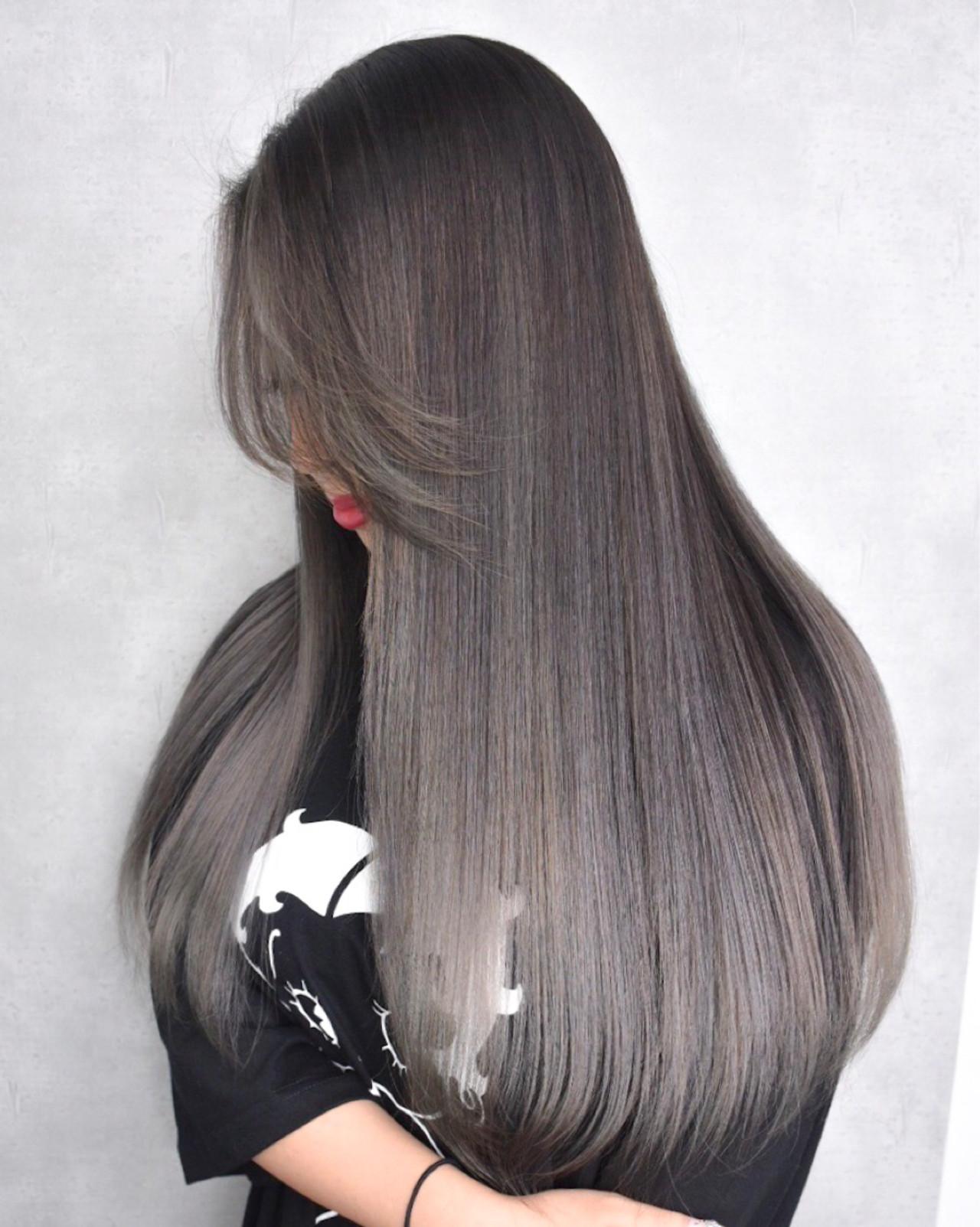 外国人風 ハイライト ナチュラル ロング ヘアスタイルや髪型の写真・画像