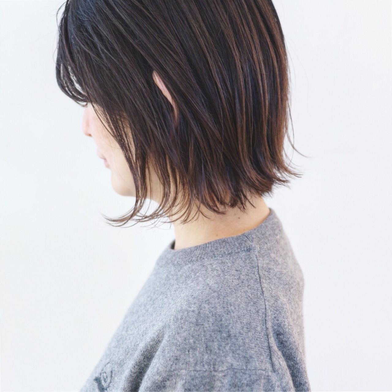 グラデーションカラー アンニュイほつれヘア ハイライト ボブ ヘアスタイルや髪型の写真・画像
