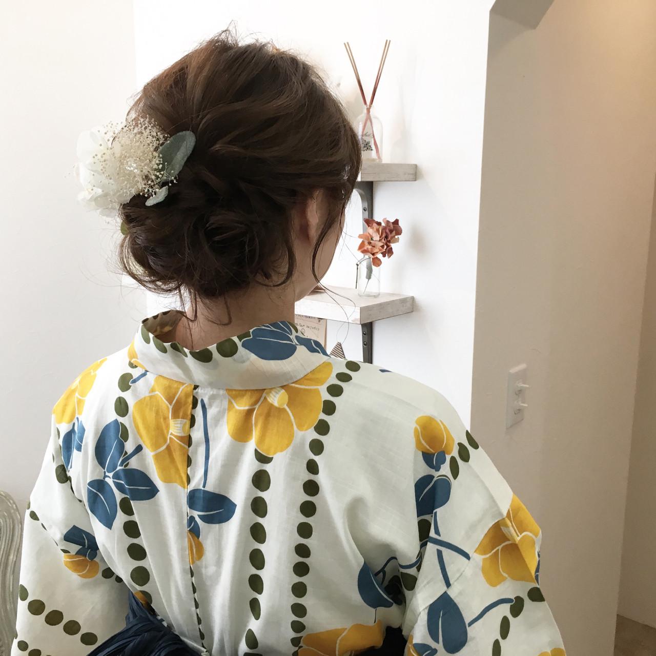 ヘアアレンジ 和装 セミロング お祭り ヘアスタイルや髪型の写真・画像 | 原田あゆみ / coquille/コキーユ