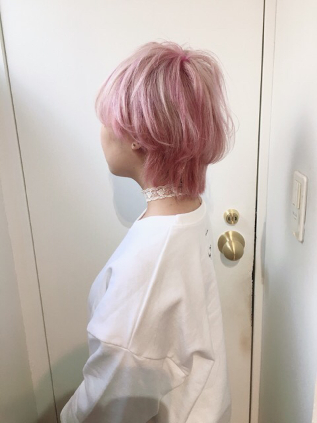 パープルアッシュ ラベンダーピンク ショート ピンクアッシュ ヘアスタイルや髪型の写真・画像