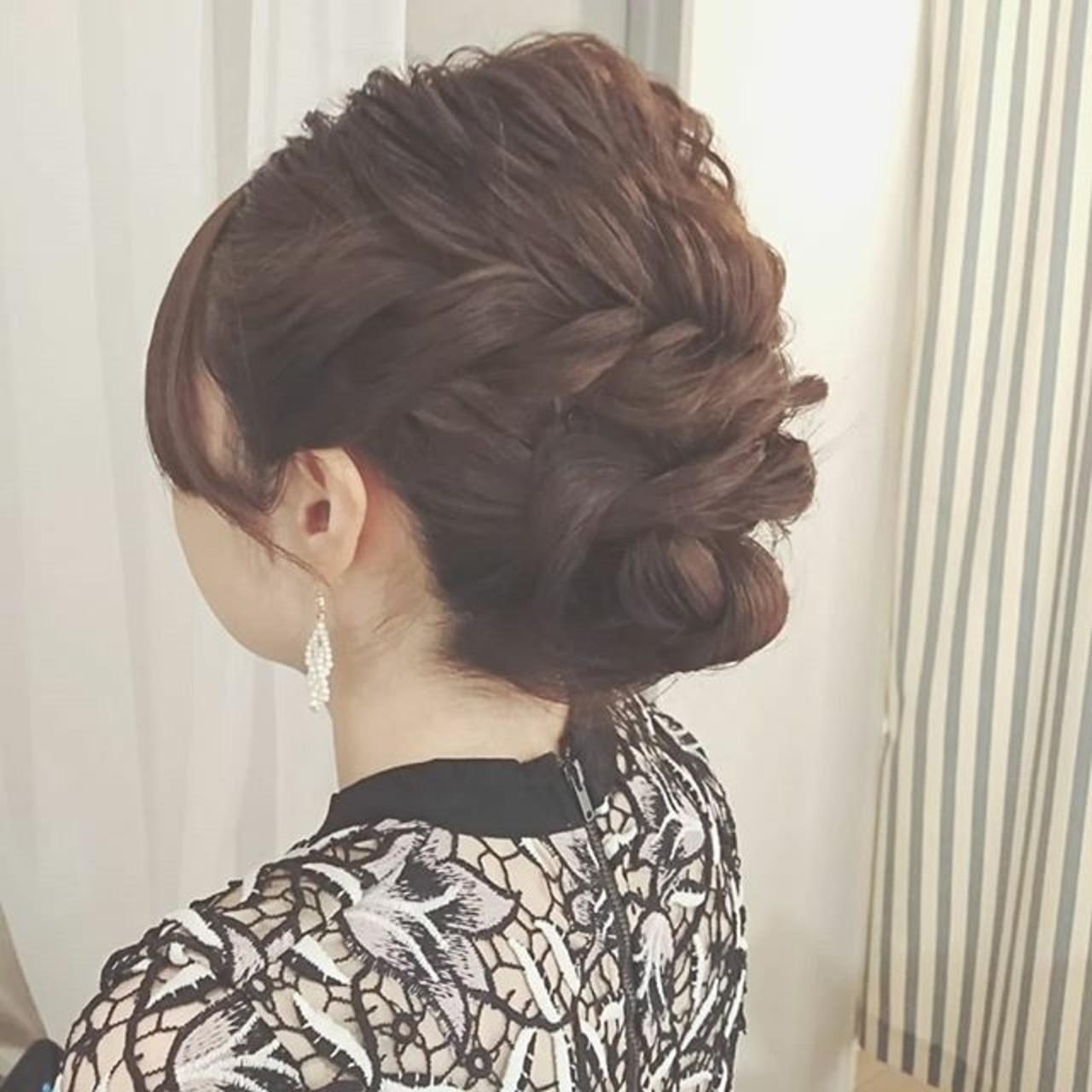 大人かわいい ミディアム 結婚式 パーティ ヘアスタイルや髪型の写真・画像
