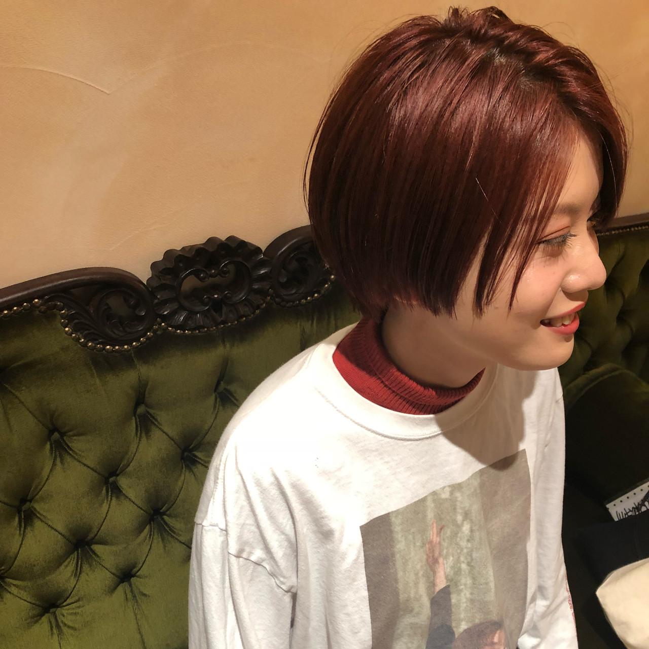 ダメージレス 赤髪 ショート ショートボブ ヘアスタイルや髪型の写真・画像 | 市田莉子 / BEAUTRIUM265