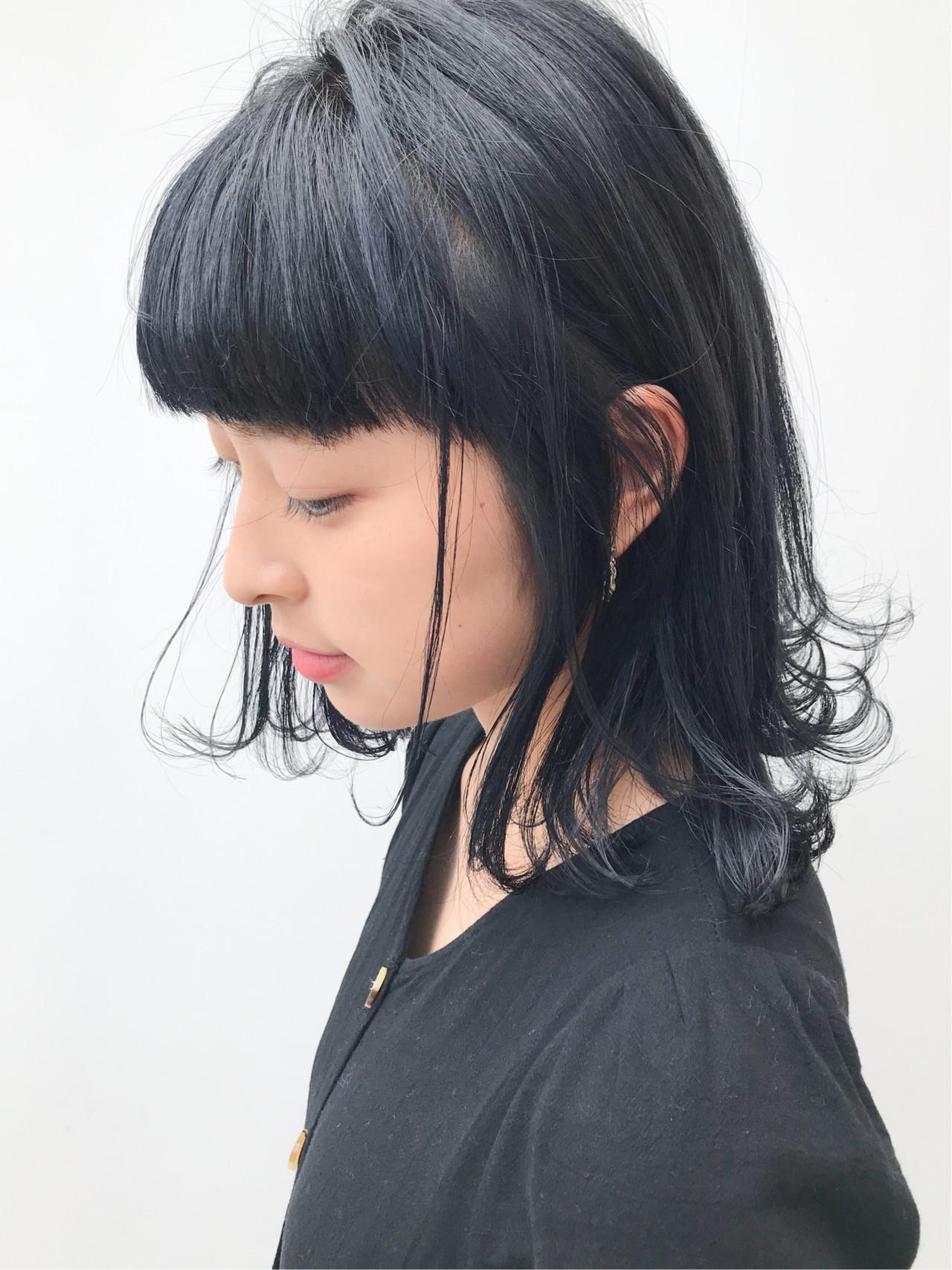 デート ミディアム 外ハネ ガーリー ヘアスタイルや髪型の写真・画像 | HIROKI / roijir / roijir