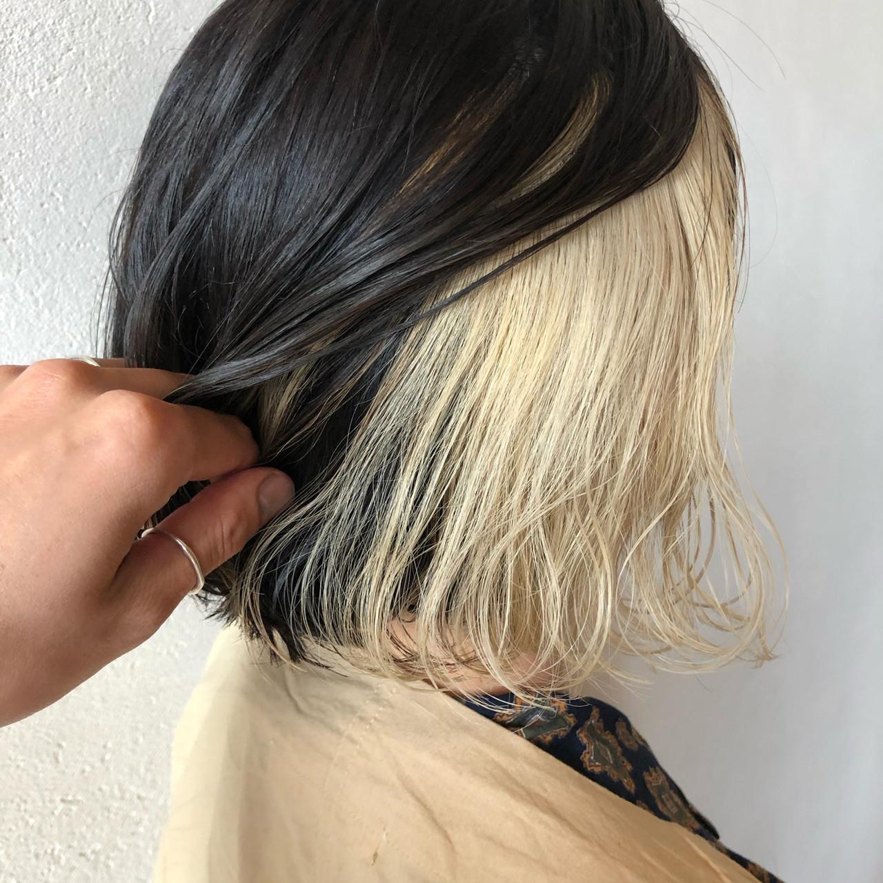 ストリート ホワイトカラー インナーカラー インナーカラーホワイト ヘアスタイルや髪型の写真・画像