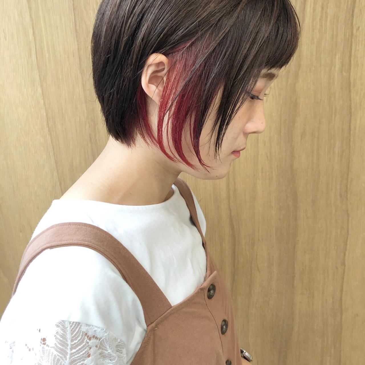 グラデーションカラー 外ハネボブ ショートボブ 切りっぱなしボブ ヘアスタイルや髪型の写真・画像 | 松井勇樹 / TWiGGY  歩行町店