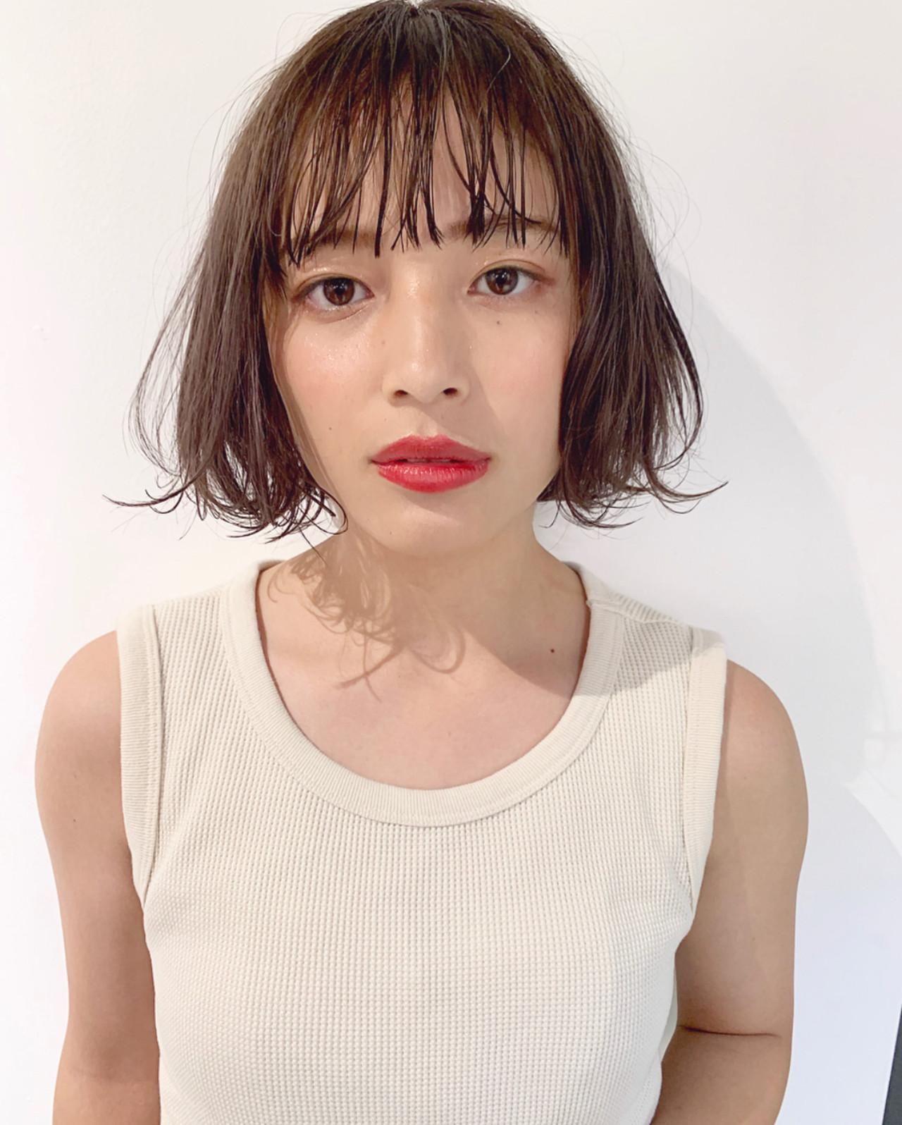 アンニュイほつれヘア 透明感カラー 簡単ヘアアレンジ ボブ ヘアスタイルや髪型の写真・画像
