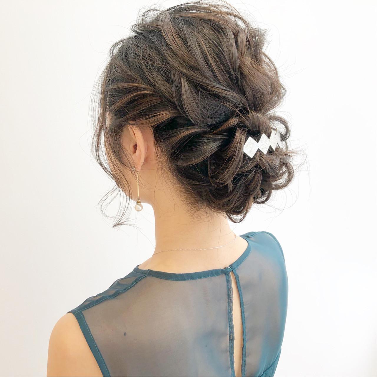 オフィス 簡単ヘアアレンジ 結婚式 セミロング ヘアスタイルや髪型の写真・画像   『ボブ美容師』永田邦彦 表参道 / send by HAIR