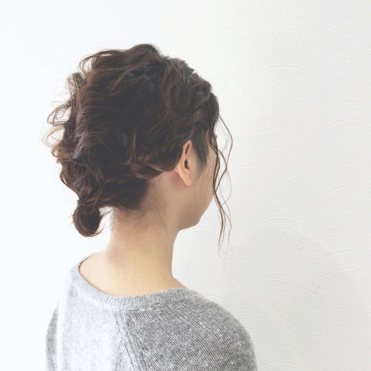 ローポニーテール ボブ くるりんぱ ロープ編み ヘアスタイルや髪型の写真・画像