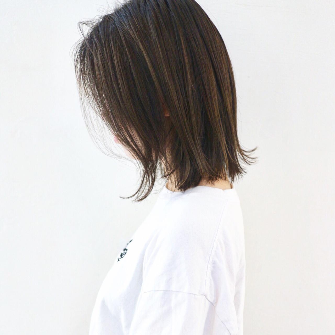 グラデーションカラー ミディアム 外ハネ ストリート ヘアスタイルや髪型の写真・画像