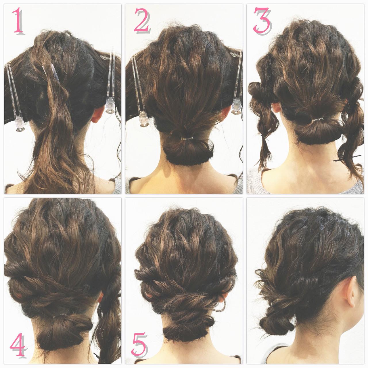 ロープ編み ショート シニヨン 簡単ヘアアレンジ ヘアスタイルや髪型の写真・画像
