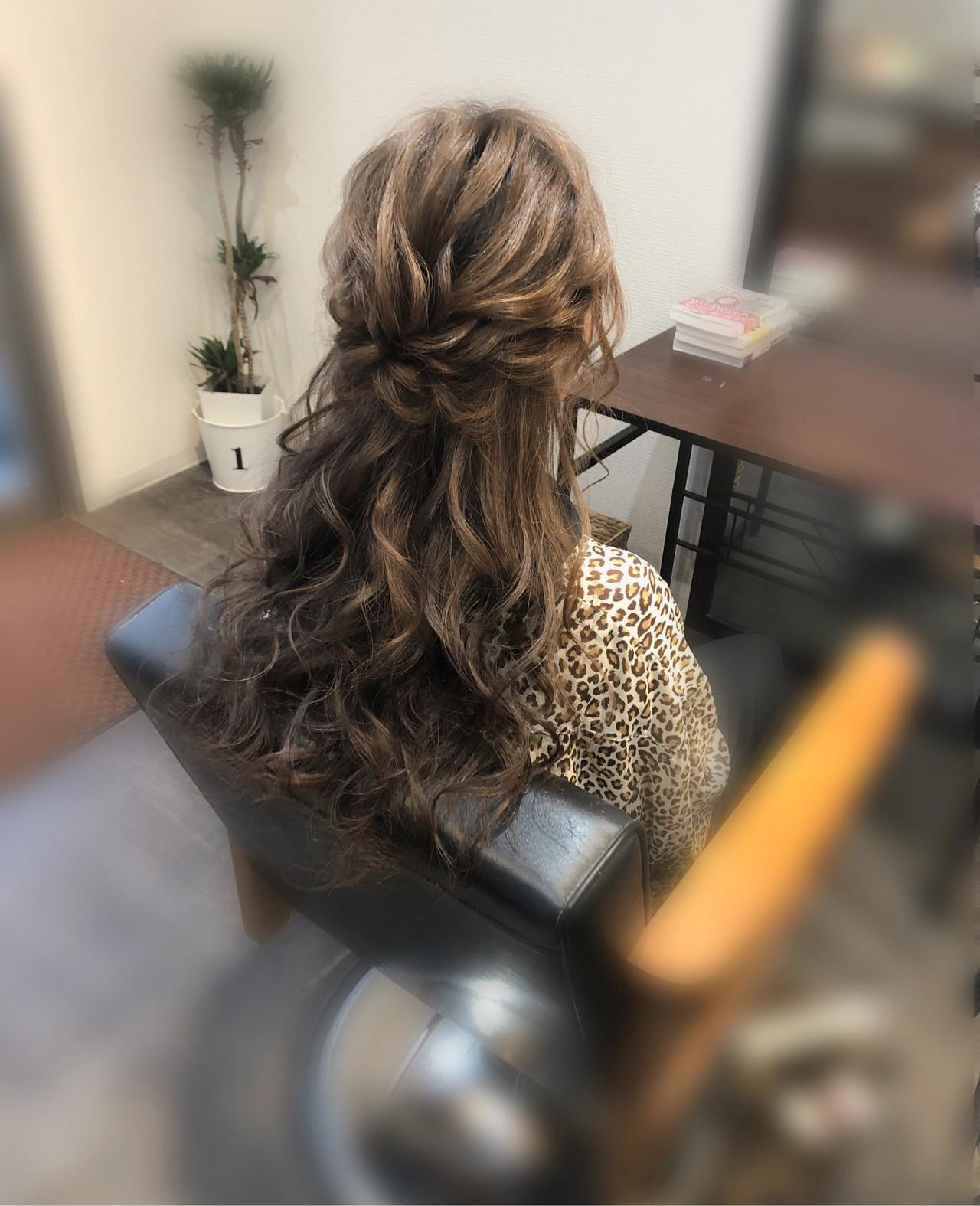 ハーフアップ ヘアセット ヘアアレンジ ロング ヘアスタイルや髪型の写真・画像