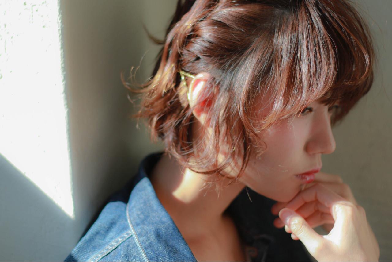 ゆるふわ ショート 簡単ヘアアレンジ ボブ ヘアスタイルや髪型の写真・画像