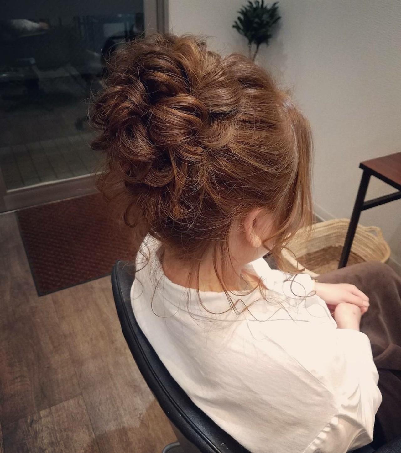 ヘアアレンジ アップスタイル お団子 ミディアム ヘアスタイルや髪型の写真・画像