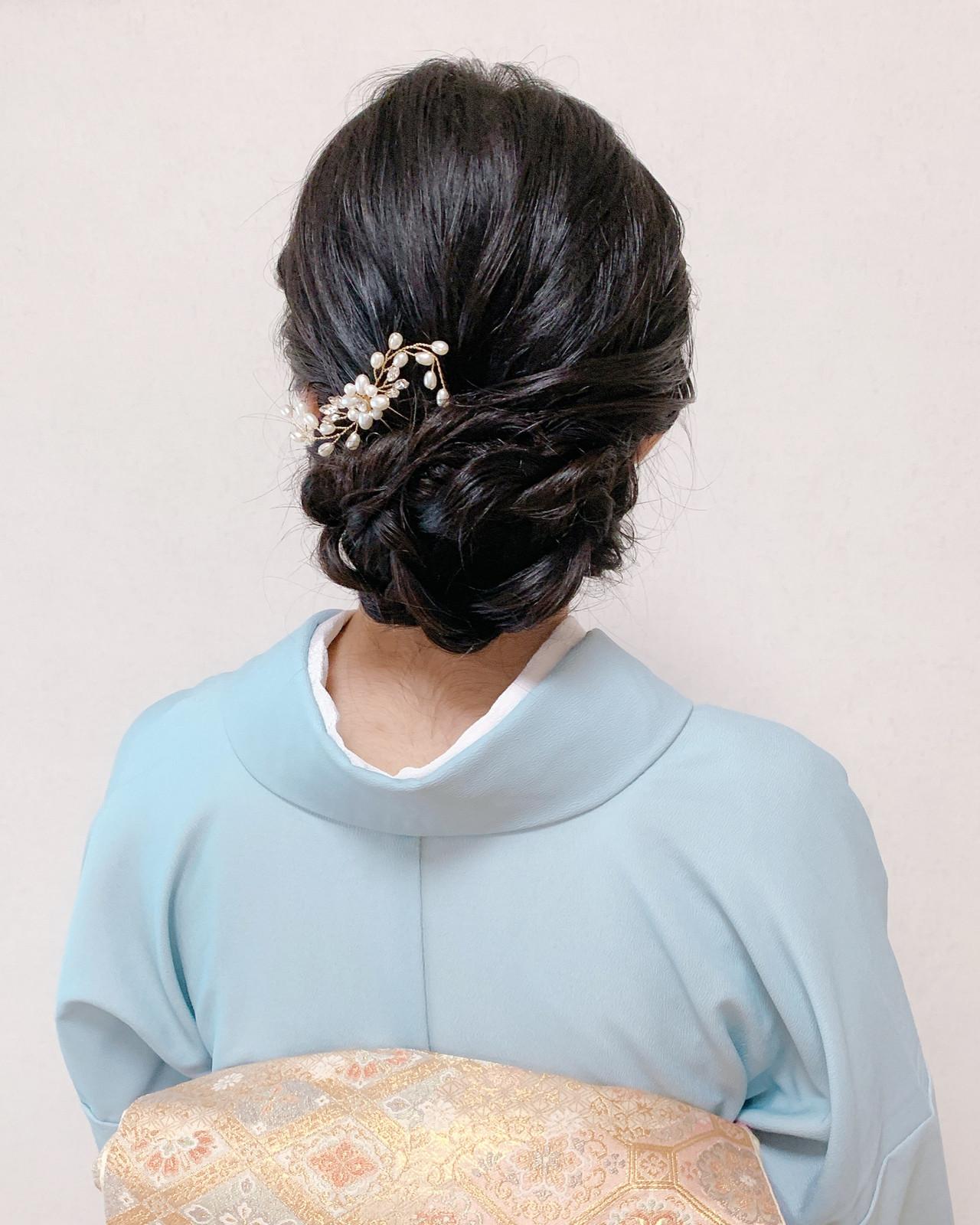 和装ヘア ミディアム 訪問着 着物 ヘアスタイルや髪型の写真・画像
