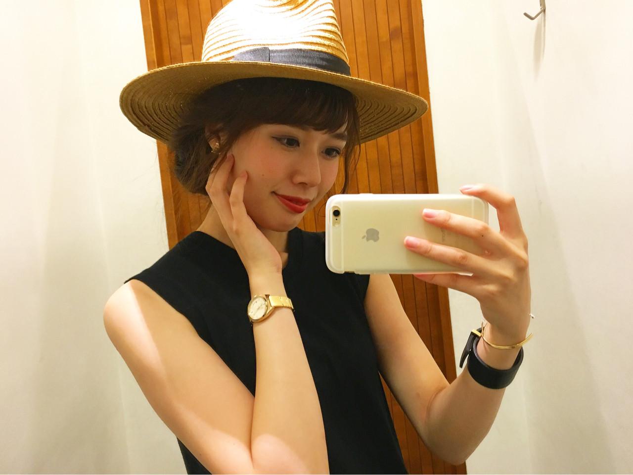 ゆるふわ ハット 簡単ヘアアレンジ ヘアアレンジ ヘアスタイルや髪型の写真・画像 | 桐谷 芽依 /