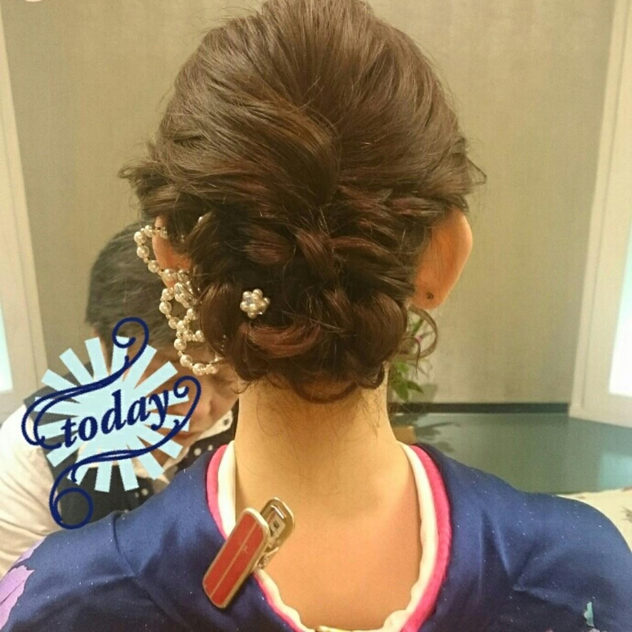 ミディアム 結婚式 着物 ブライダル ヘアスタイルや髪型の写真・画像 | 美和遥 FITZ(フィッツ) / 富士美容院 FITZ (フィッツ)