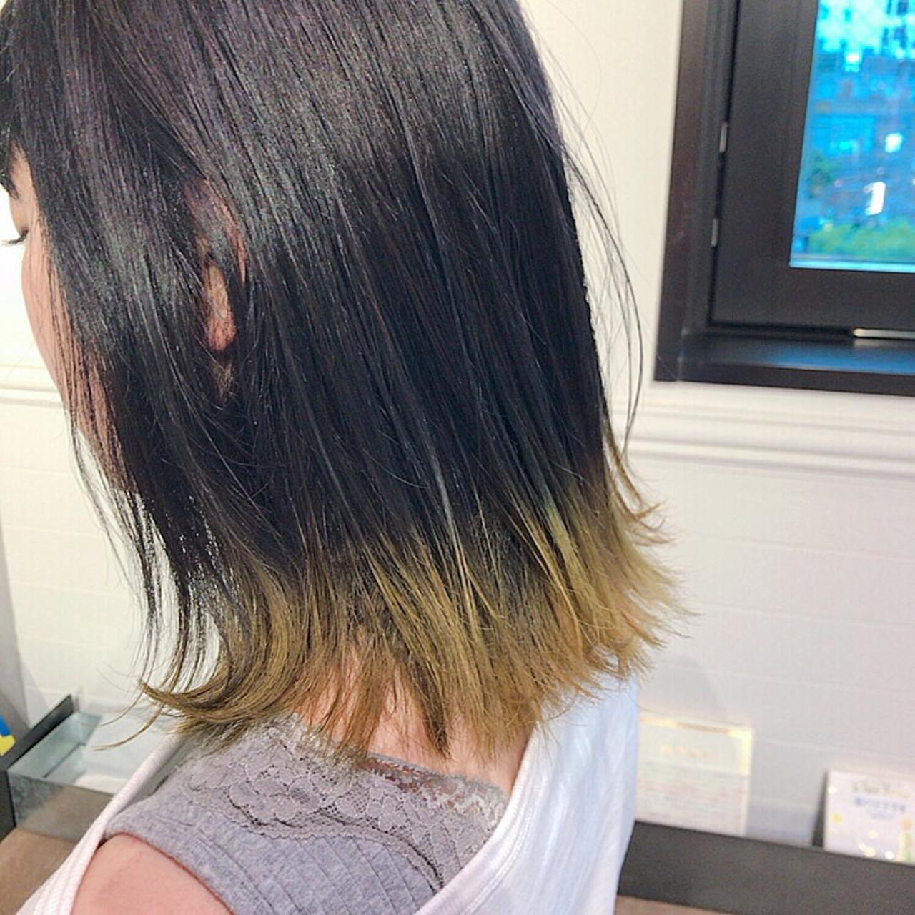 裾カラー アウトドア グラデーションカラー ストリート ヘアスタイルや髪型の写真・画像