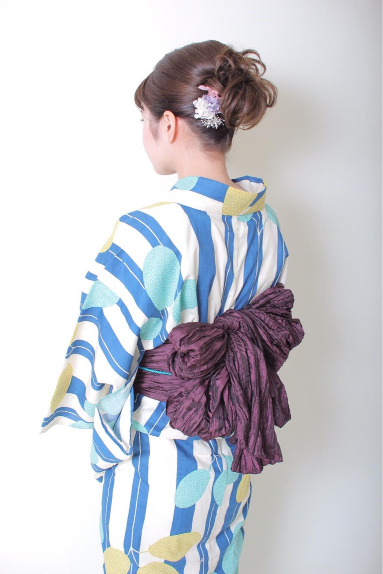 ヘアアレンジ ドライフラワー 花火大会 和装 ヘアスタイルや髪型の写真・画像 | AfEO8 /