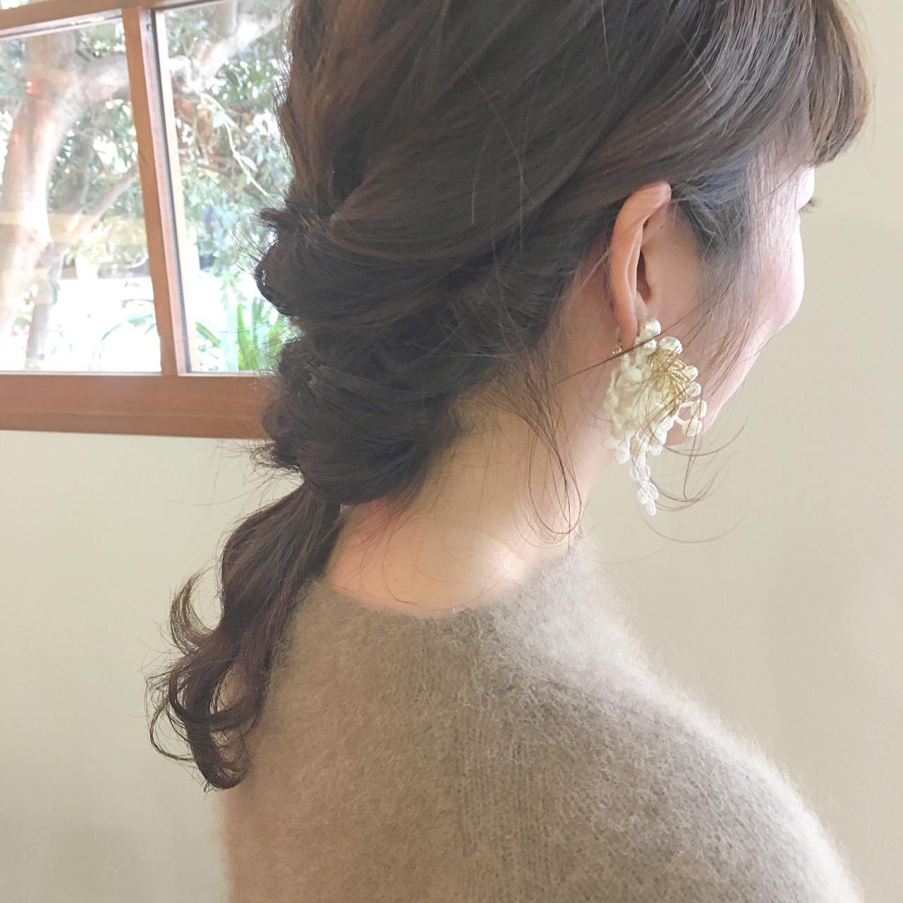 ベージュ 簡単ヘアアレンジ アンニュイほつれヘア セミロング ヘアスタイルや髪型の写真・画像 | 杉本あさか asa / buzz北堀江