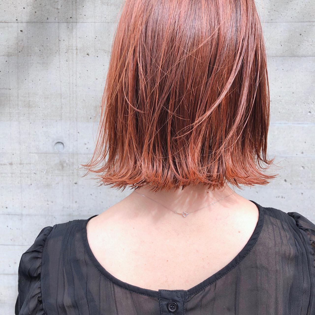 アンニュイほつれヘア ボブ アプリコットオレンジ 外ハネボブ ヘアスタイルや髪型の写真・画像