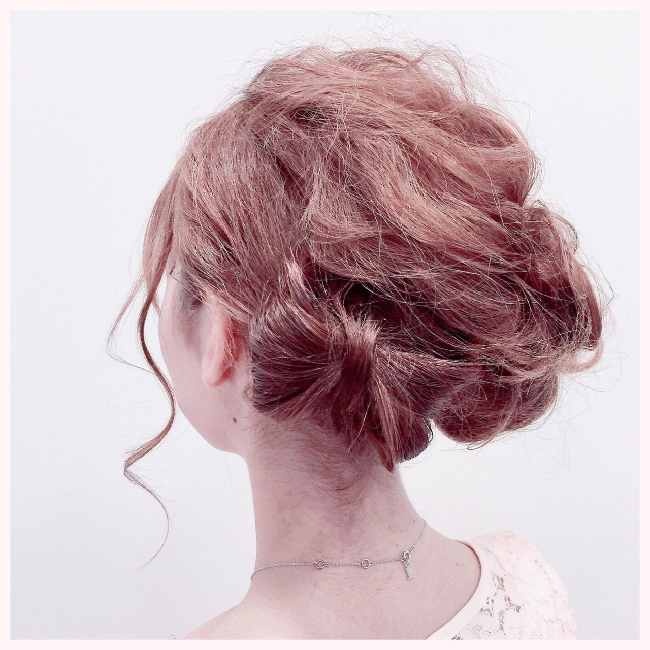 ヘアアレンジ 結婚式 ガーリー 簡単ヘアアレンジ ヘアスタイルや髪型の写真・画像