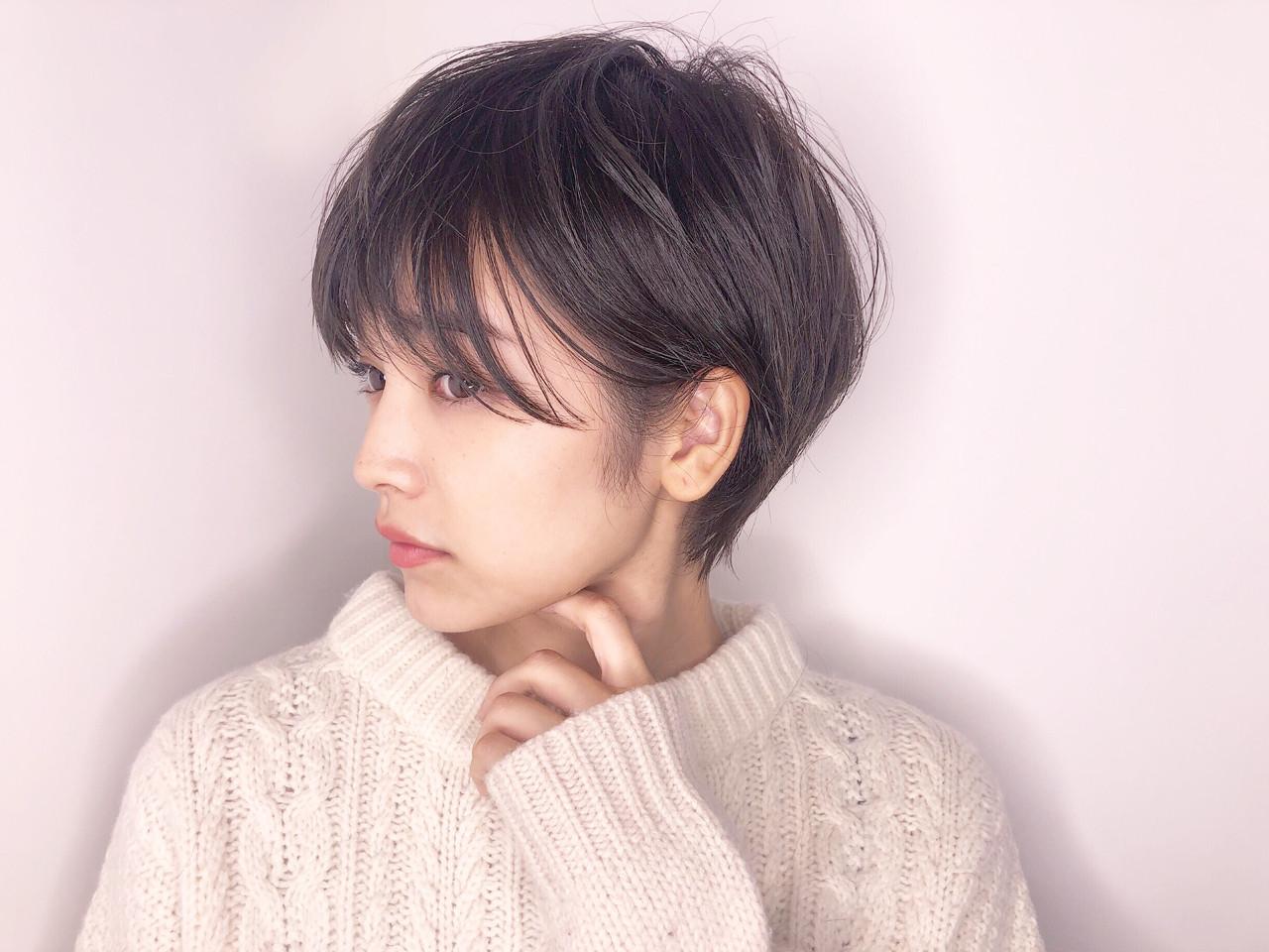 似合わせ 小顔 ボーイッシュ ナチュラル ヘアスタイルや髪型の写真・画像
