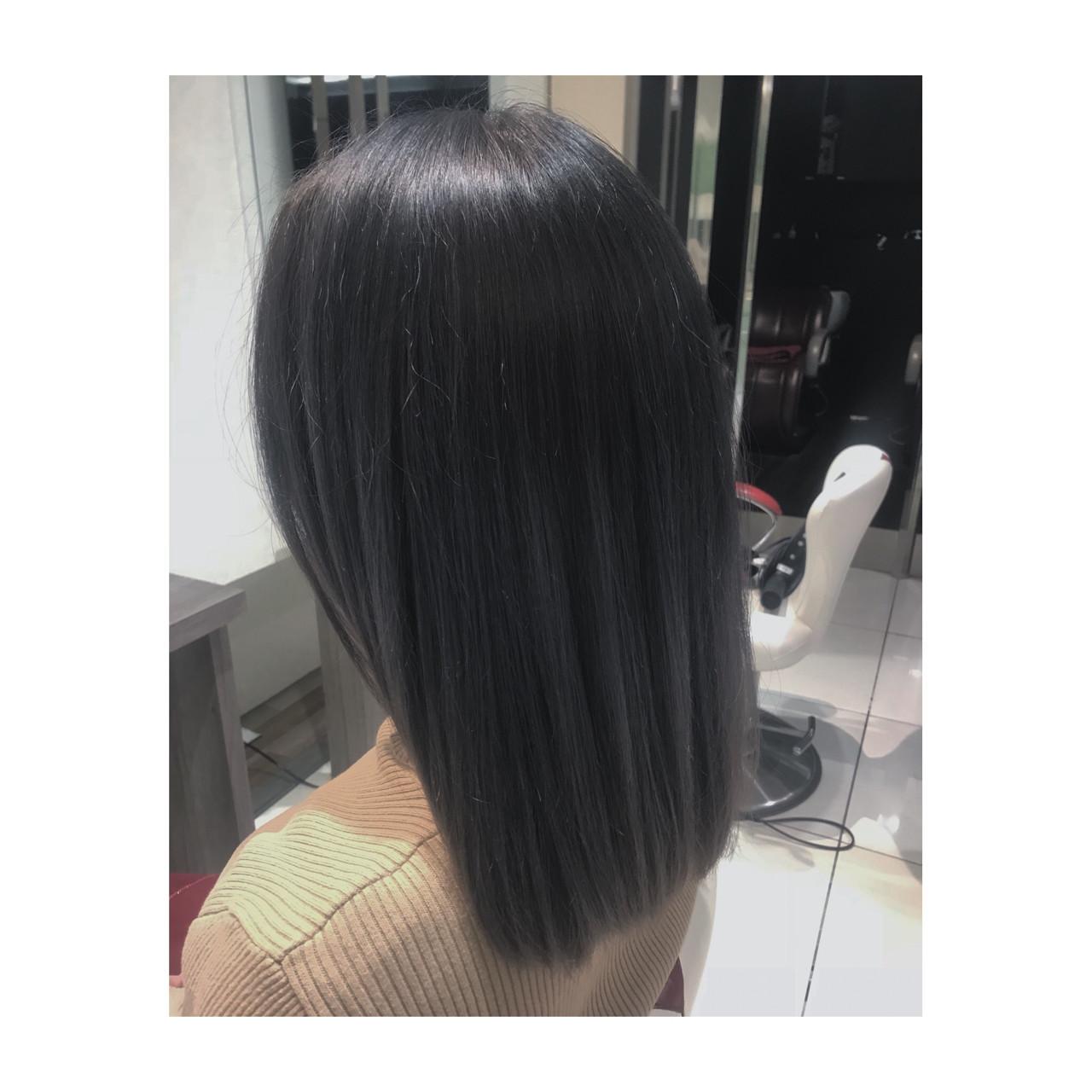 アッシュ 外国人風カラー ミディアム ブリーチ ヘアスタイルや髪型の写真・画像