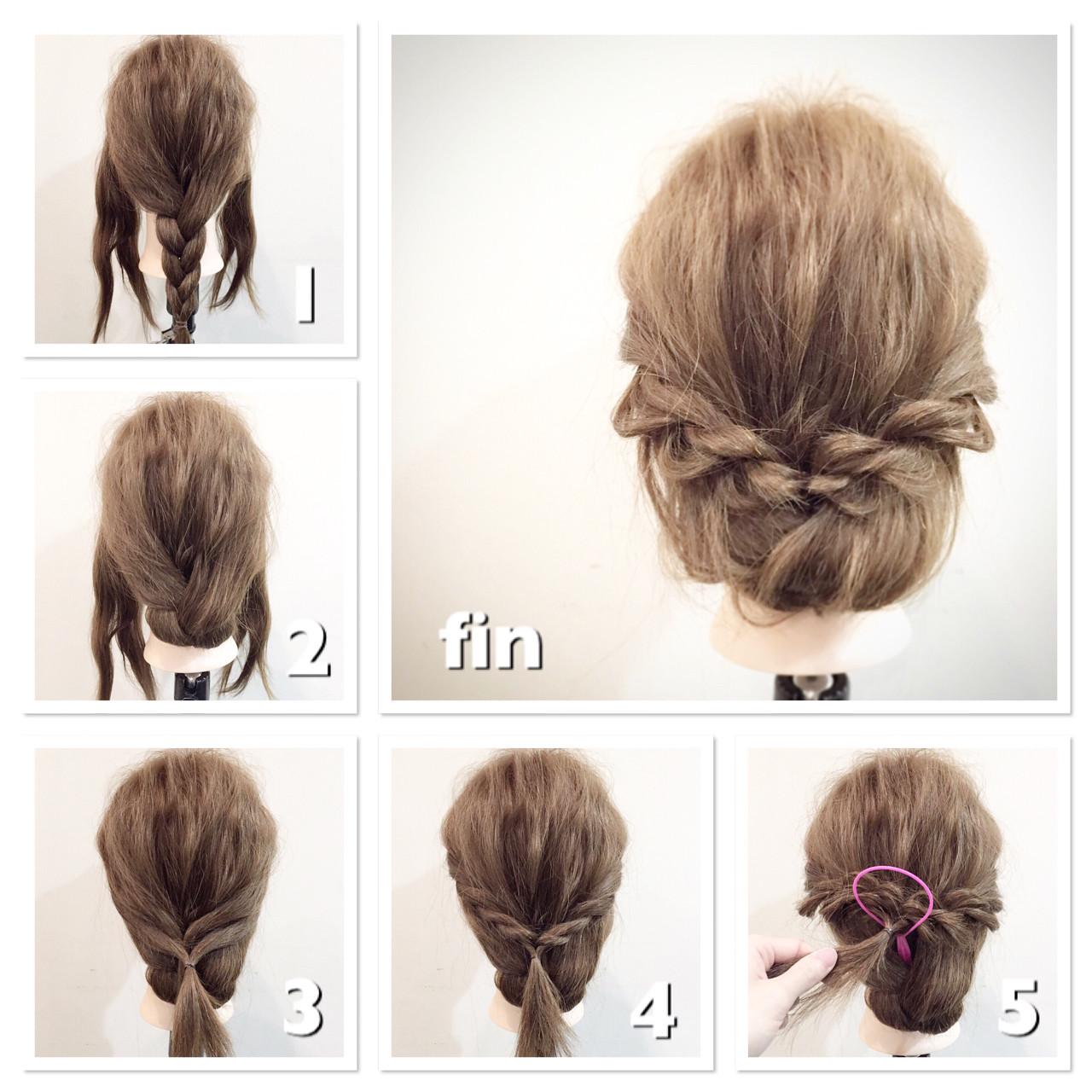 ヘアアレンジ セミロング ショート ロープ編み ヘアスタイルや髪型の写真・画像