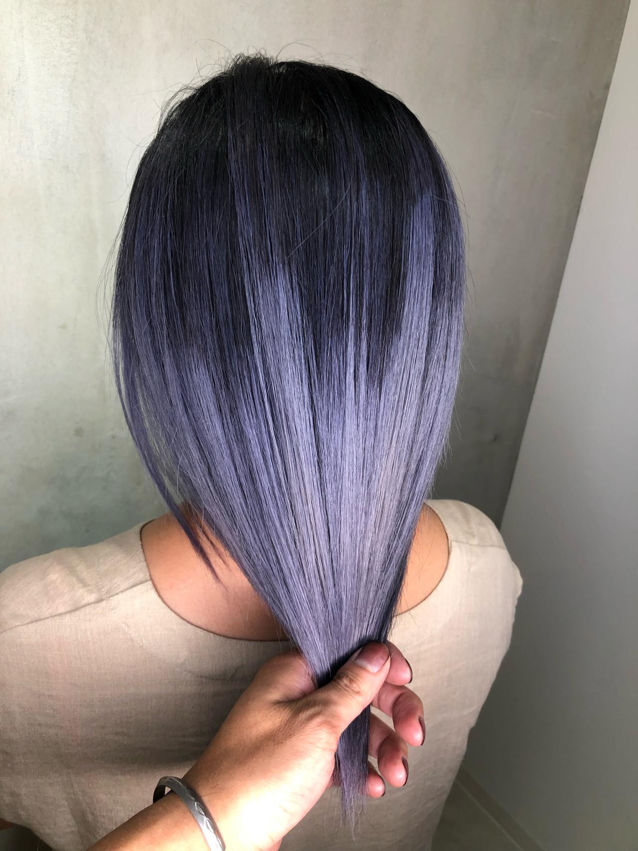 青紫 紫 ミディアム グラデーションカラー Hair Salon Mode 筒井 隆由