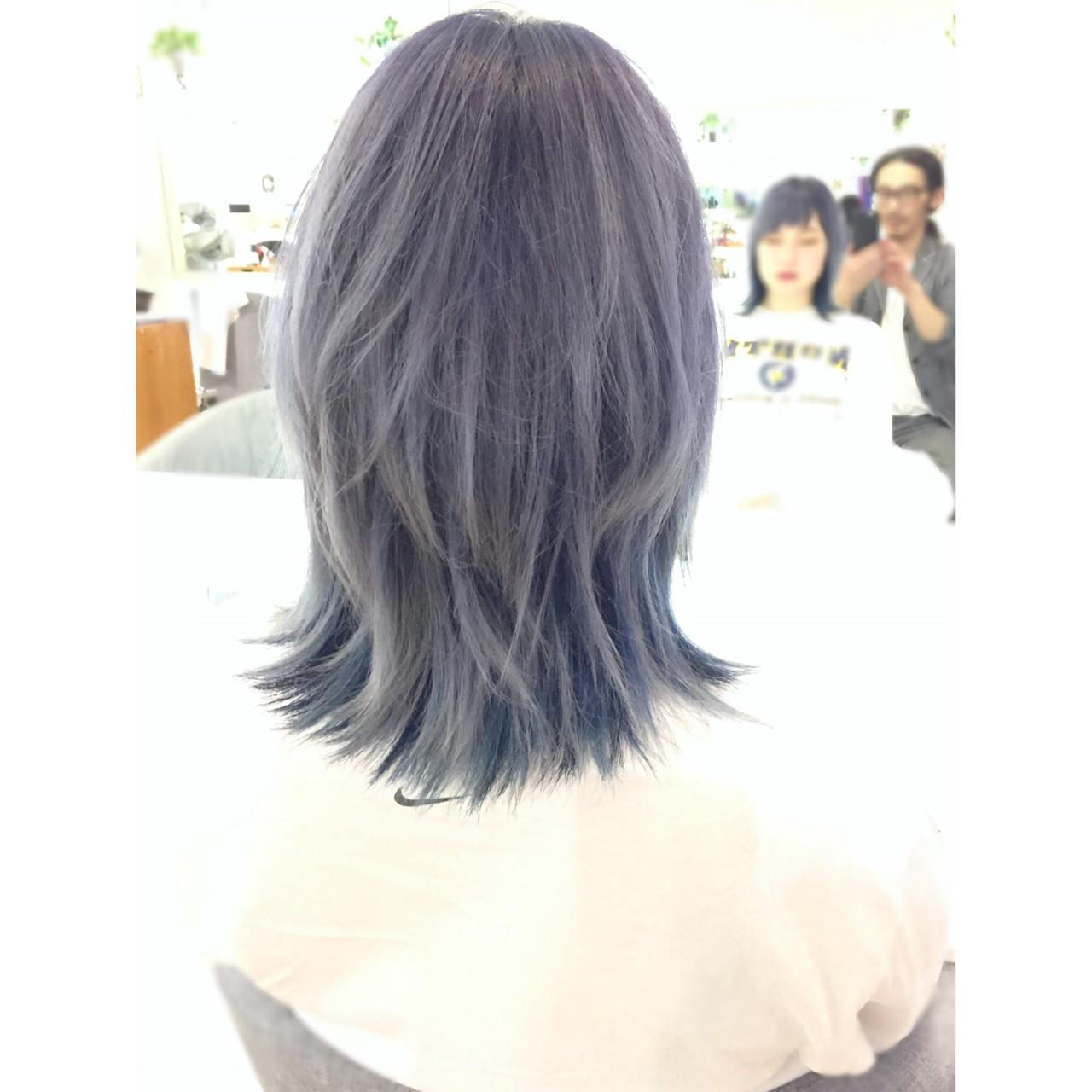 グレー 外国人風カラー パープル ミディアム ヘアスタイルや髪型の写真・画像