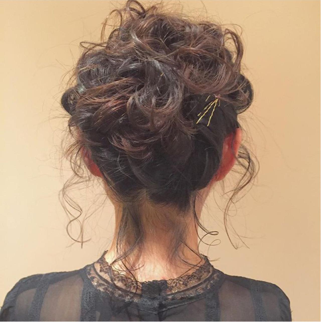 ヘアアレンジ 無造作 ボブ くせ毛風 ヘアスタイルや髪型の写真・画像