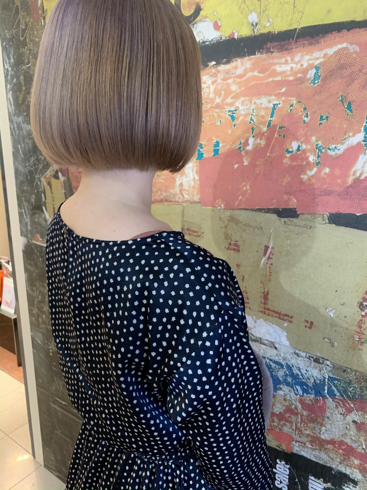 ミニボブ ボブ ショートボブ イルミナカラー ヘアスタイルや髪型の写真・画像