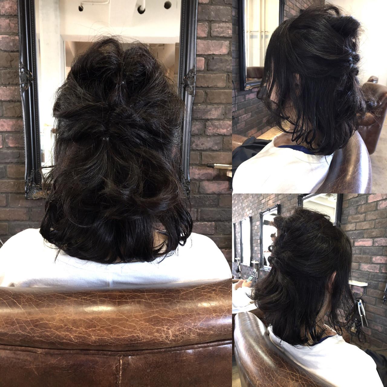 簡単ヘアアレンジ ショート ハーフアップ 大人女子 ヘアスタイルや髪型の写真・画像 | 松尾謙佑 / cielo