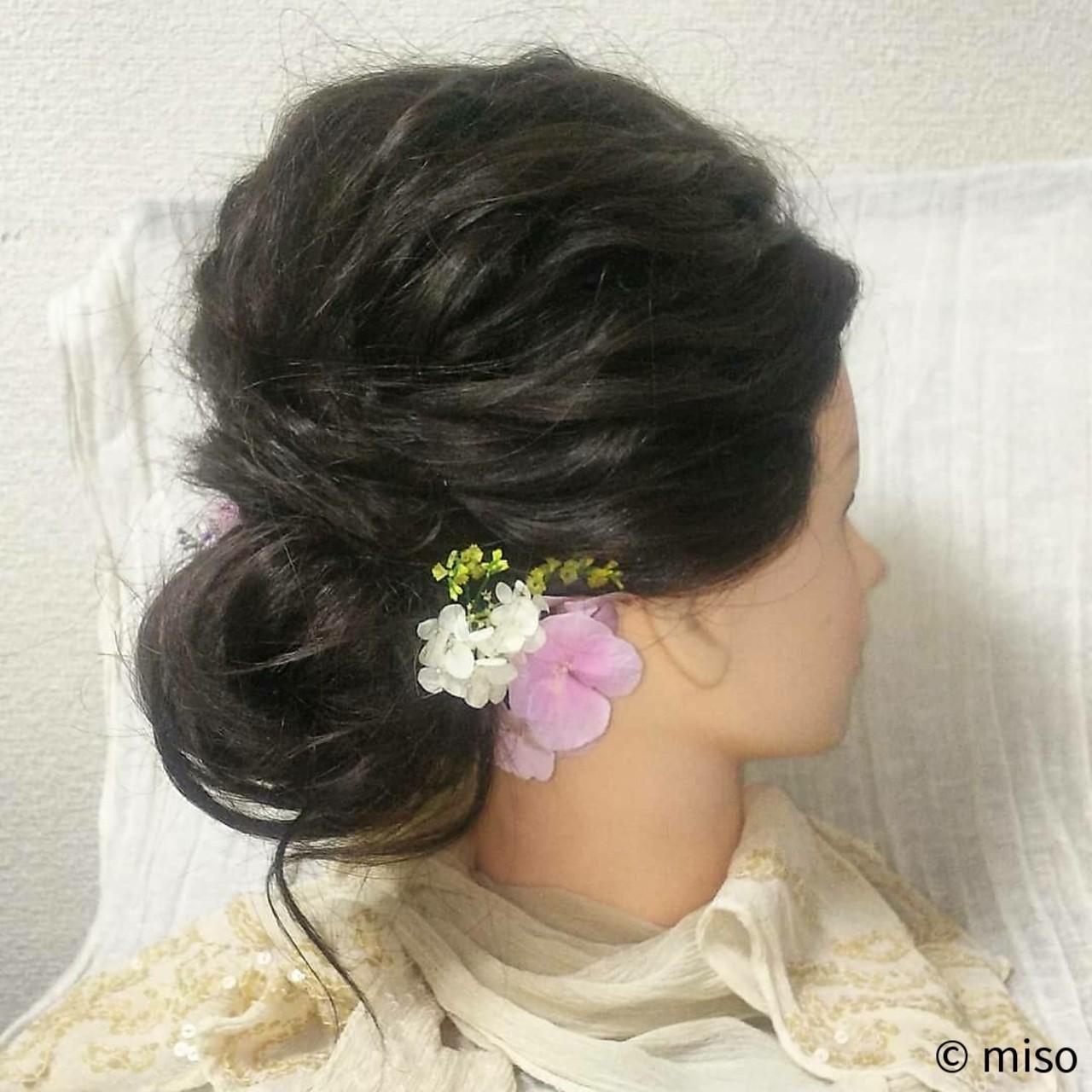 ブライダル 花嫁 セミロング ヘアアレンジ ヘアスタイルや髪型の写真・画像
