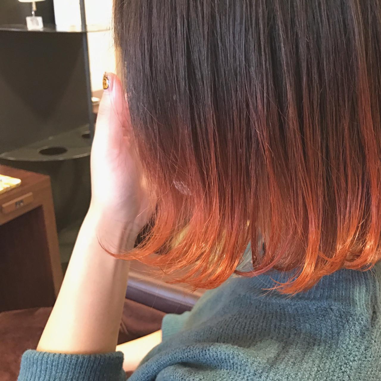 オレンジ ストリート ボブ グラデーションカラー ヘアスタイルや髪型の写真・画像