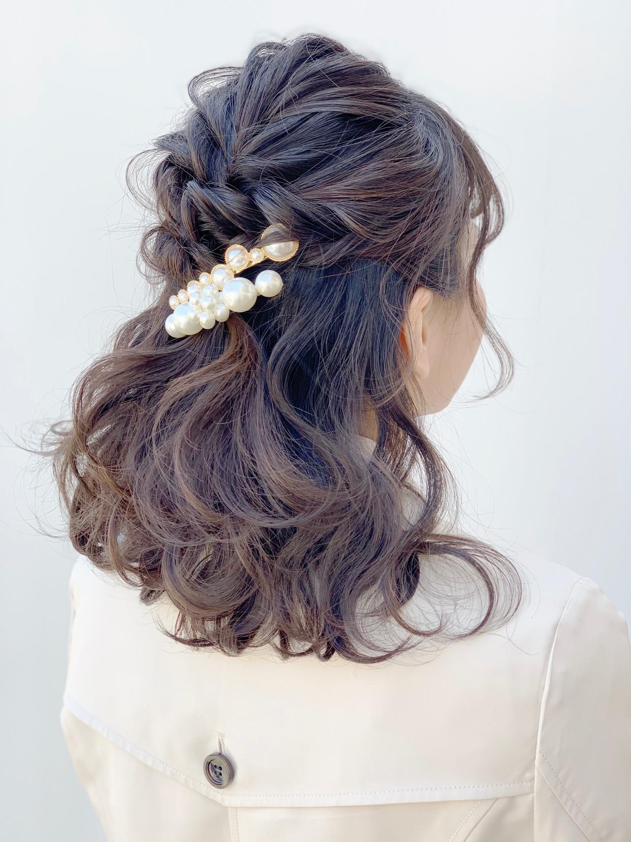 結婚式ヘアアレンジ 編み込み ミディアム 結婚式髪型 ヘアスタイルや髪型の写真・画像