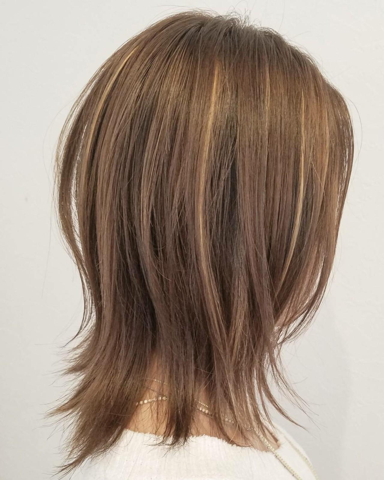 ハイライト ストリート ミディアム レイヤーカット ヘアスタイルや髪型の写真・画像