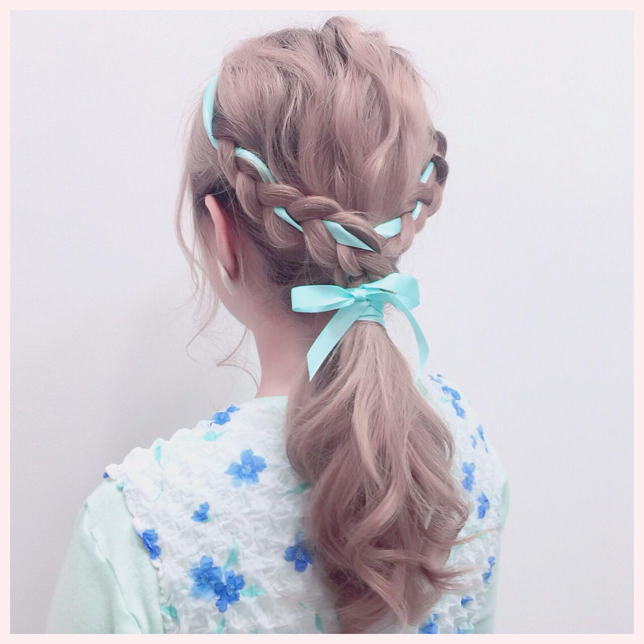 編み込み ヘアアレンジ セミロング ハーフアップ ヘアスタイルや髪型の写真・画像