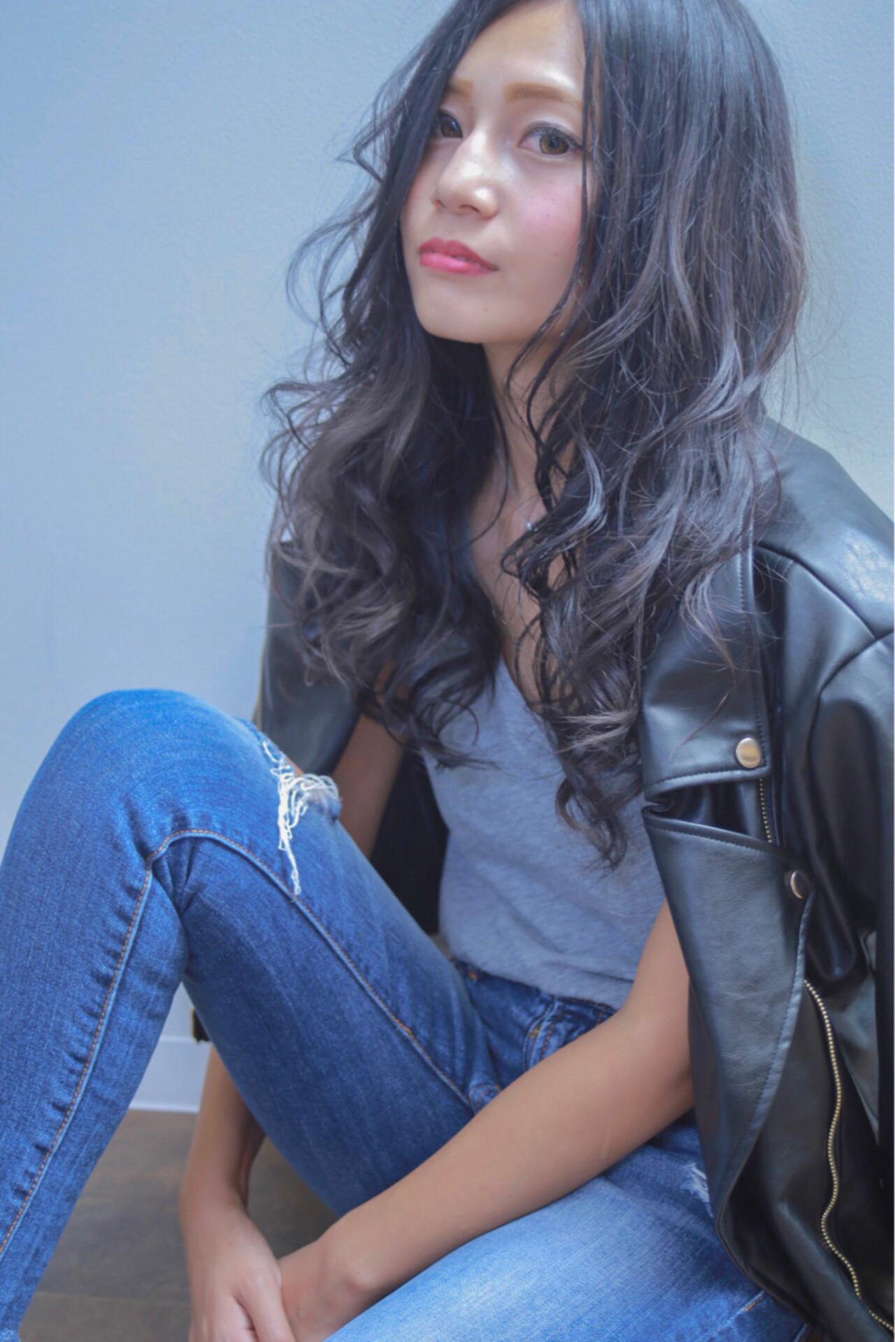 ロング ダークアッシュ 外国人風カラー ストリート ヘアスタイルや髪型の写真・画像