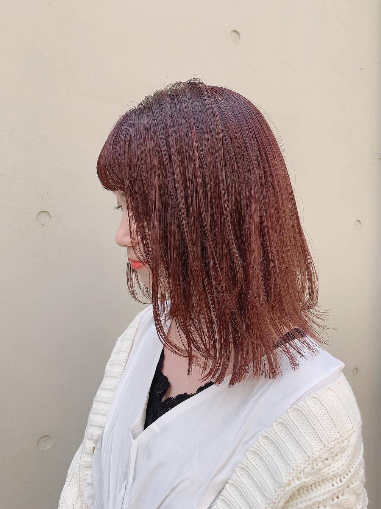 ハイライト 透明感カラー ピンクベージュ ミディアム ヘアスタイルや髪型の写真・画像