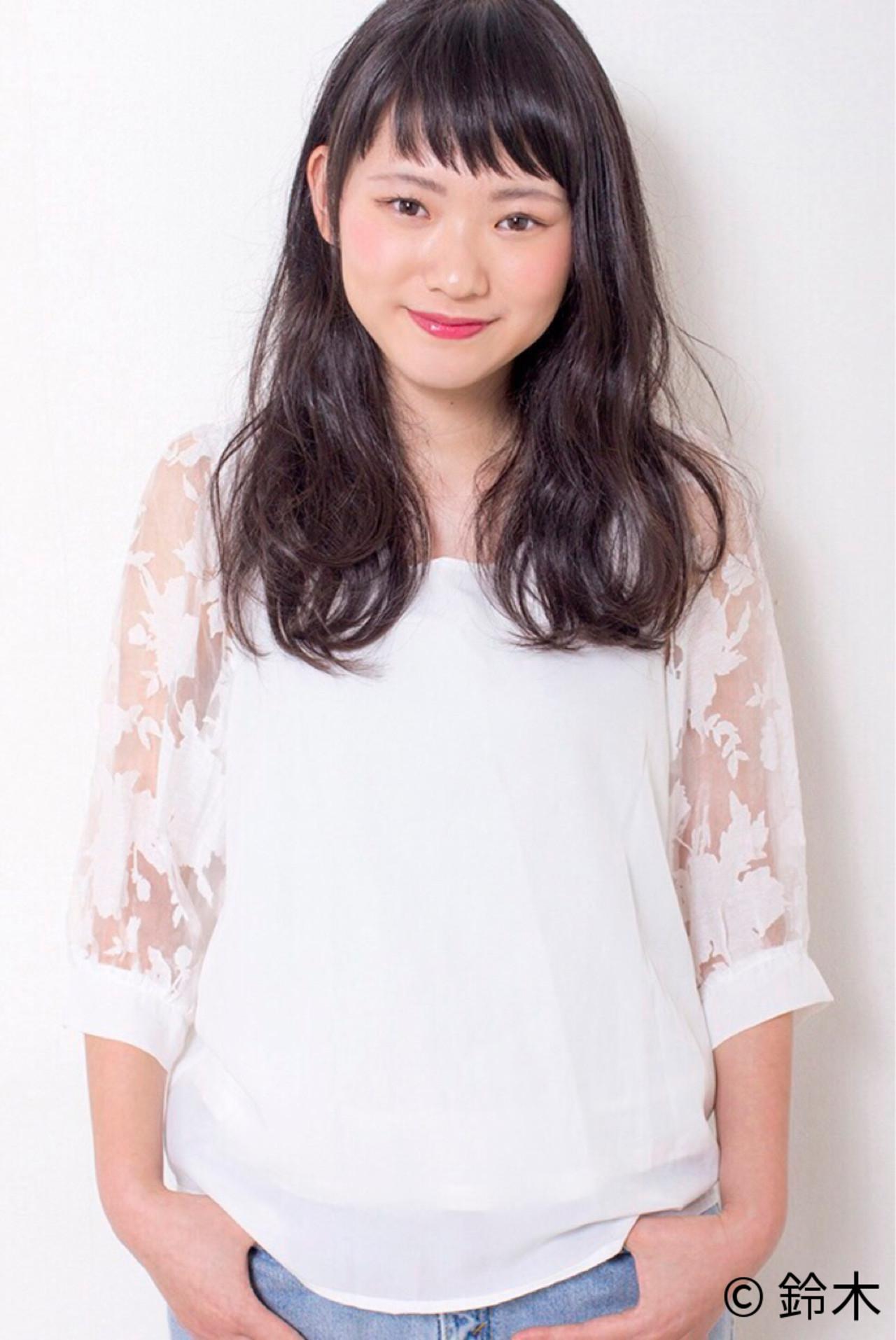 パーマ 黒髪 ナチュラル ロング ヘアスタイルや髪型の写真・画像 | 鈴木 / BASIL