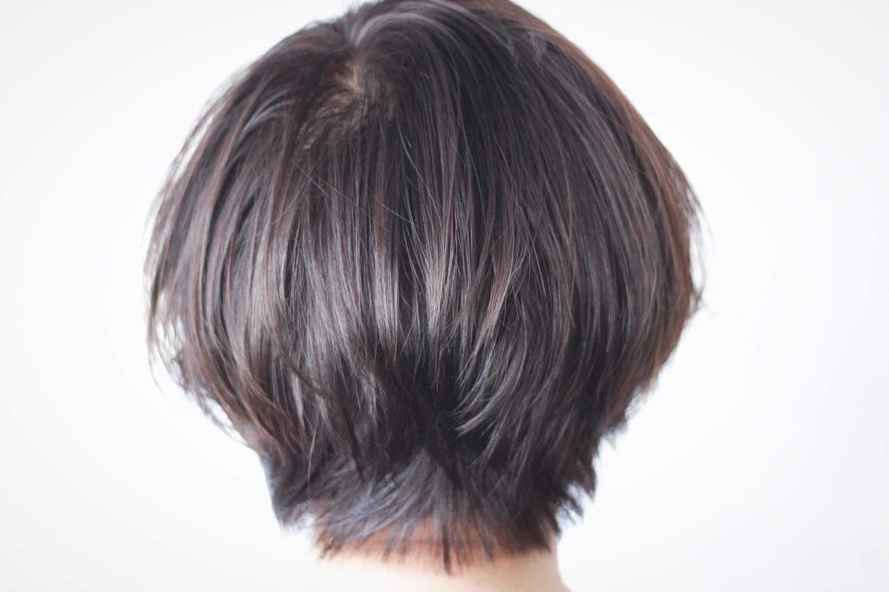 美シルエット ショート ナチュラル ボブ ヘアスタイルや髪型の写真・画像