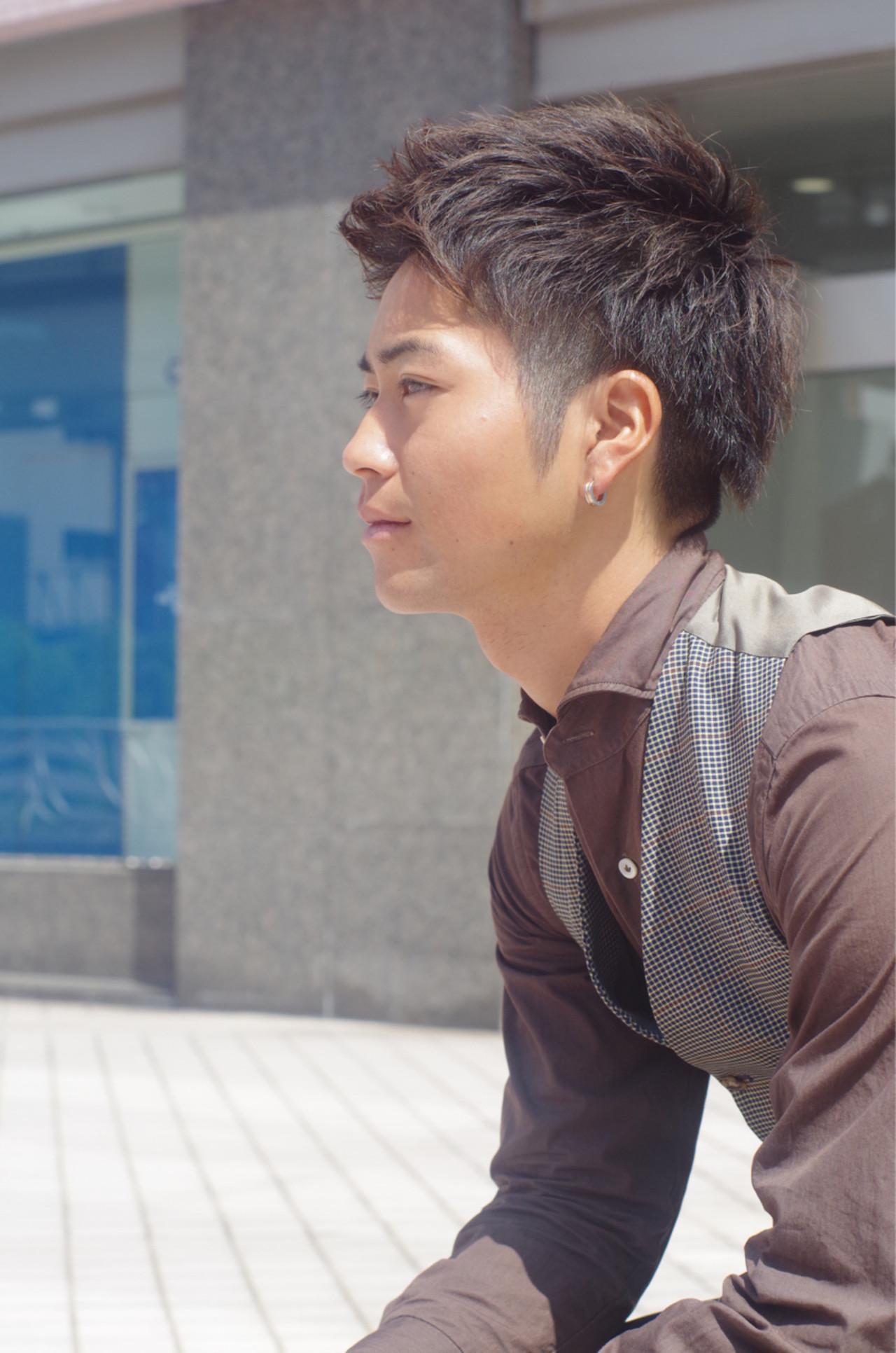 メンズ ショート 黒髪 ナチュラル ヘアスタイルや髪型の写真・画像